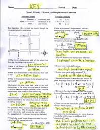 Speed Velocity And Acceleration Worksheet With Answers Key Speed Velocity Distance And Displacement Exercises