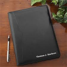 personalized leather portfolio black