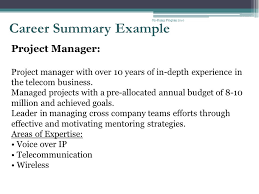 career summary example summary resume examples profile profile on