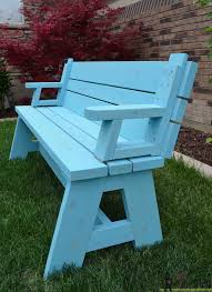 Picnic Table With Benches Plans Convertible Picnic Table And Bench Her Tool Belt