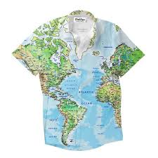 Greenland World Map by World Map Short Sleeve Button Down Shirt Shelfies