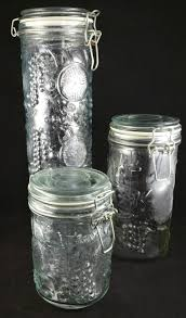vintage clear glass canister set set of 3 glass canisters food