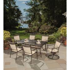 Sling Back Patio Dining Sets - bali cast aluminum and sling 7 piece outdoor dining set hd3026t