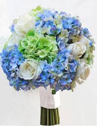 hydrangea bouquet white roses with green and blue hydrangeas wedding bouquet