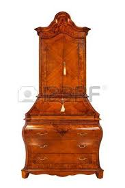beautiful wooden bureau on a white background stock photo picture