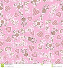 baby shower seamless pattern with cute baby giraffe on pink