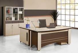 modern cream and brown futuristic office desk that can be applied