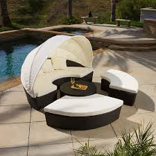 Patio Sectional Outdoor Patio Furniture 4pcs All Weather Wicker Sectional Daybed