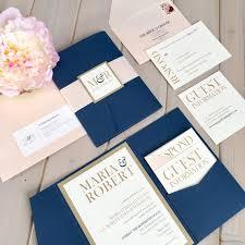 wedding invitations navy pocket invitations navy and blush invitations navy pocket