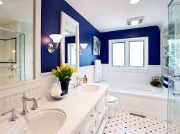 blue and white bathroom decor white ceramic bath tub with high arc
