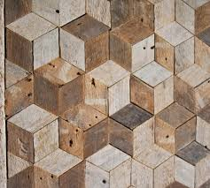reclaimed wood wall art decor pattern lath 3d cube geometric