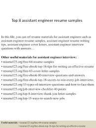 Resume Sample Pdf Malaysia by Top8assistantengineerresumesamples 150410090140 Conversion Gate01 Thumbnail 4 Jpg Cb U003d1428674545