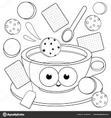Cup Of Tea And Cookies Coloring Book Page Stock Vector Coloring Cookies