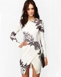 shop white long sleeve random floral print wrap dress online