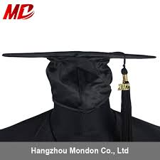 black cap and gown shiny black children graduation gown with black graduation cap shiny