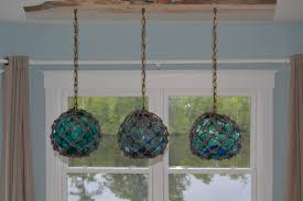 Glass Fishing Float Light Fixture With 3 Floats