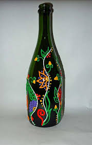 Upcycled Wine Bottles - floral vine design upcycled wine bottle project by decoart