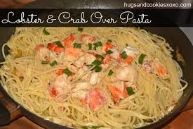 lobster and crab over pasta hugs and cookies xoxo