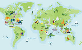 Regions World Map by World Map Illustration U2013 World Map Weltkarte Peta Dunia Mapa