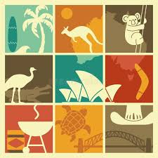 symbols of australian culture and nature stock vector image