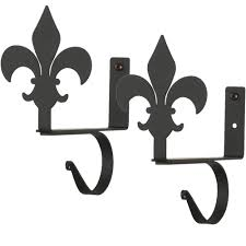 iron fleur de lis curtain shelf brackets