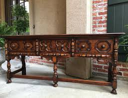 Sofa Table Oak by Antique English Carved Oak Sofa Table Jacobean Sideboard Buffet