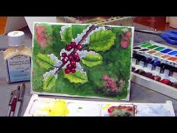 how to paint holly in watercolor christmas card idea youtube