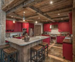 rustic concrete kitchen kitchen rustic with red pop of color barn