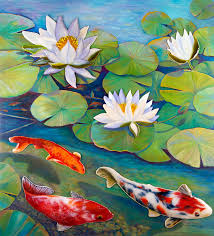 water lily painting koi pond by anne nye