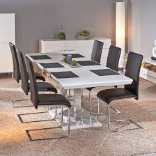 White Gloss Dining Room Table by Monton Extendable White Gloss Dining Table With 6 Trishell