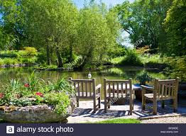 a large ornamental pond or small lake in an english country garden