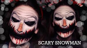 scary snowman makeup how to face paint tutorial youtube