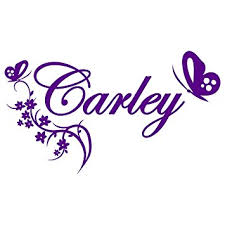 butterfly and vine design large purple w custom name removable