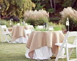 burlap table linens wholesale burlap overlay on round tables i would make the overlay a little