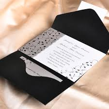 marriage invitation card sle affordable black and white pocket wedding invitation cards ewpi025