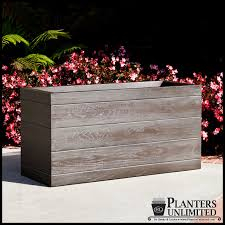 Tall Rectangular Planter by Madera Rectangle Planter Boxes Outdoor Planters With Faux Wood Finish