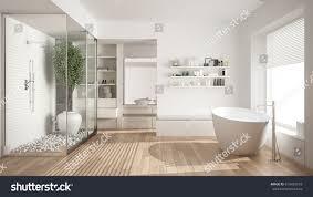 Aaa Business Interiors Minimalist White Scandinavian Bathroom Walkin Closet Stock