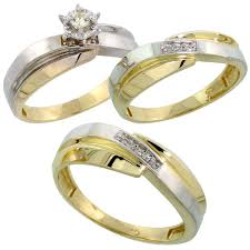 trio wedding sets gold plated sterling silver diamond trio wedding ring set his 7mm