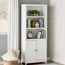 white solid wood bookcase cabinets wayfair doors soft bookshelves