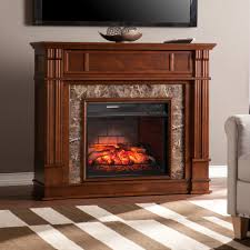 Media Electric Fireplace Southern Enterprises Rochester 48 In W Faux Stone Infrared