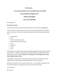automobile mechanic cover letter free cover note templates cover