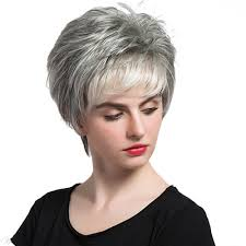 salt and pepper pixie cut human hair wigs salt and pepper short straight capless wigs with bangs human hair