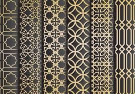 black and gold islamic ornaments vector free vector