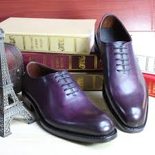 2015 new purple color goodyear welted shoes imported leather mens