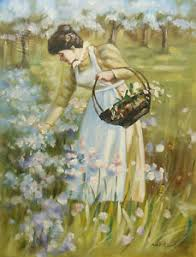oil painting of old fashioned woman picking flowers with basket in