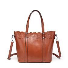 ladies leather handbag bolsas mujer large vintage hollow out