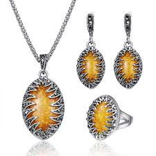 vintage crystal pendant necklace images Vintage crystal bridal jewelry sets for women antique silver color jpg