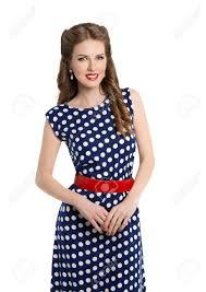 polka dot hair woman in polka dot dress retro girl pin up hair style beauty