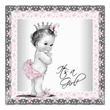 baby girl shower invitations pink and gray vintage baby girl shower invitation ladyprints