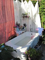 bathroom enjoying relaxing time in sensational outdoor bathtub bathroom calm outdoor bathub design ideas with fabulous natural garden landscape view and nice shower